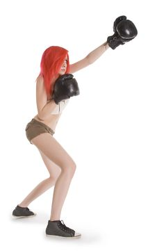 Free Girl Kick Boxer Kicked In Anger Shouting Stock Photo - 14919780