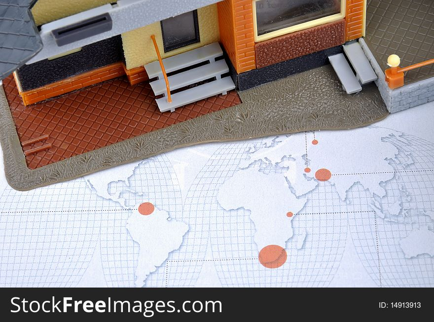 House model and world map