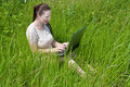 Free Beautiful Girl Setting Outdoor With Laptop  Summer Royalty Free Stock Photography - 14929427