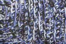 Free Blue, White And Black Knit Texture Wool Threads Royalty Free Stock Image - 14922986