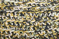 Yellow, White And Black Knit Texture Wool Threads Royalty Free Stock Photography