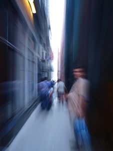 Free Blurred People In The Tunnel Royalty Free Stock Photo - 14923355