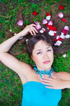 Free Girl Is Laying On The Grass Stock Image - 14923661