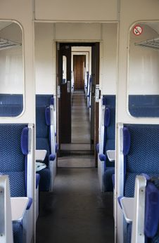 Inside The Empty Train Carriage Stock Photography