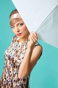 Beautiful Fashion Girl On The Turquoise Background Stock Images