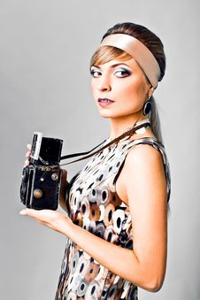 Free Beautiful Fashion Girl On The White Background Stock Image - 14924291