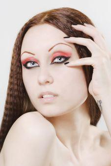 Woman With Black Nail Polish And Dark Make-up Royalty Free Stock Photo