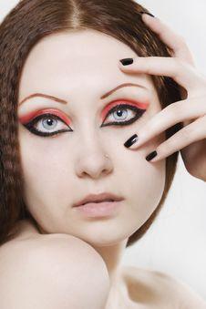 Free Woman With Black Nail Polish And Dark Make-up Stock Images - 14924444