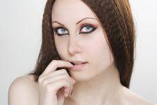 Woman With Black Nail Polish And Dark Make-up Stock Images
