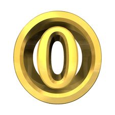 3d Number 0 In Gold Royalty Free Stock Photography