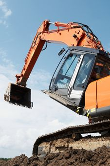 Loader Excavator At Construction Stock Photography