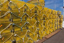 Free Commercial Lobster Cages On A Pier In New England Stock Image - 14926471