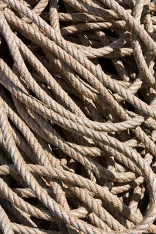 Background Image Of Coiled, Used Rope Royalty Free Stock Photography