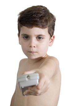Free CHILD WITH REMOTE CONTROL Royalty Free Stock Images - 14927589