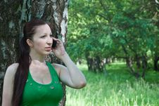 Beautiful Girl On The Phone In The Park Summer Stock Image