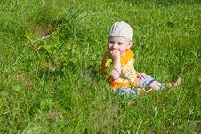 Free Beautiful Little Boy Looks In Green  Meadow Royalty Free Stock Photos - 14929648