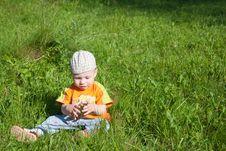 Free Beautiful Little Boy Looks In Green  Meadow Stock Photo - 14929710