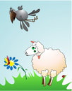 Free Lamb And A Raven On A Meadow Royalty Free Stock Photography - 14939807
