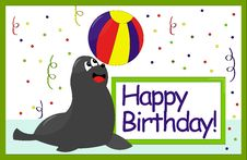 Happy Birthday Card Seal Royalty Free Stock Photo