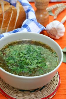 Free Green Soup With Parsley Royalty Free Stock Photography - 14932057