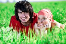 Free Girl And Boy On Grass Royalty Free Stock Images - 14932899