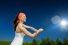 Free Long-haired Girl With Racket Royalty Free Stock Image - 14933046