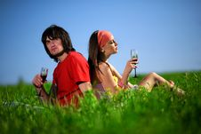 Nice Girl And Boy With Wineglasses On Grass Royalty Free Stock Photo