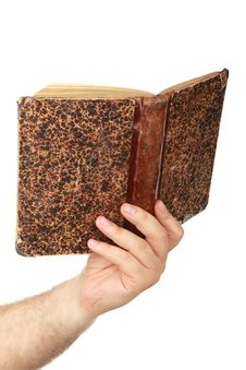 Free Man S Hand With Old Book Royalty Free Stock Image - 14933486