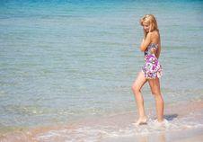 Free Smiling Girl Walking In Water Stock Photo - 14934200