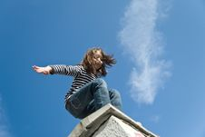 Free Little Girl Preparing To A Big Jump Stock Images - 14935024