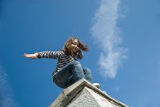 Free Little Girl Preparing To A Big Jump Royalty Free Stock Photo - 14935045
