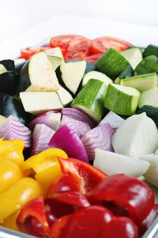 Free Peppers Eggplant Onions & Zucchini On White Stock Photo - 14935260