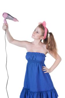 Free Red-haired Girl With The Hair Dryer. Stock Image - 14936181