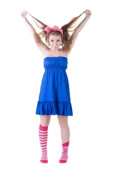 Free Lovely Red-haired Girl In  Dark Blue Sundress. Stock Photography - 14936542