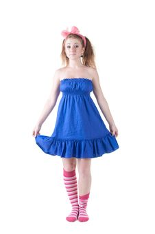 Free Lovely Red-haired Girl In  Dark Blue Sundress. Royalty Free Stock Photography - 14936557