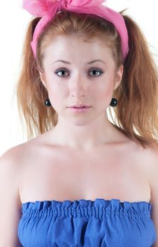 Free Lovely Red-haired Girl In  Dark Blue Sundress. Royalty Free Stock Images - 14936579