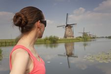 Free Woman Looking At Windmills Stock Photo - 14937350