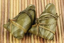 Two Chinese Rice Dumplings Royalty Free Stock Images