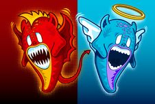 Angel And Demon Face To Face  Gradient Background Royalty Free Stock Images