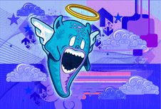 Angel Monster Illustration In Blue Background Royalty Free Stock Photos