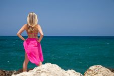 Free Woman On Exotic Beach Royalty Free Stock Photography - 14938267