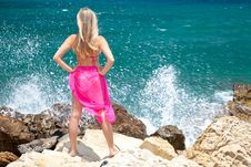 Free Woman On Exotic Beach Stock Photography - 14938282