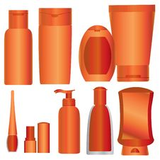 Free Vector Set Of Bright Orange Cosmetics Packages Royalty Free Stock Image - 14938966