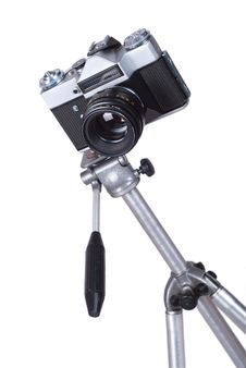 Old Camera On Tripod Royalty Free Stock Images