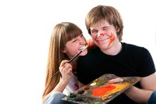 Free Young Couple Playing With Painting Royalty Free Stock Photo - 14939885