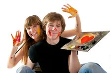 Free Young Couple Playing With Painting Royalty Free Stock Photos - 14939928