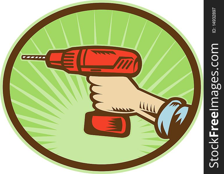 Hand holding a cordless drill