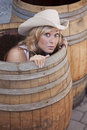 Free Girl In A Barrel Royalty Free Stock Photo - 14943245