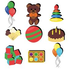 Free Set With Birthday Party Objects Stock Photo - 14940380