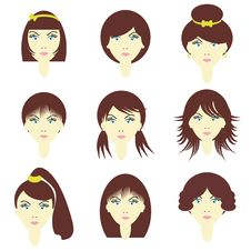 Free Girls With Different Hairstyles Royalty Free Stock Photography - 14940487